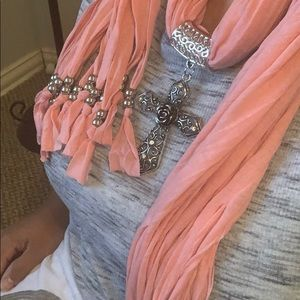 Cross with Beaded Fringe Pink Scarf